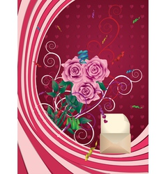 Greeting card with pink roses vector