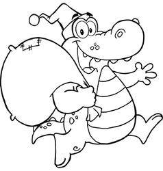 Royalty free rf clipart black and white crocodile vector