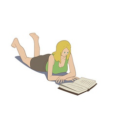 Girl lying reading book vector