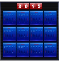 Calendar 2015 sunday first american week 12 months vector
