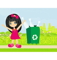 Girl recycling bottles vector