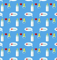 Baby bottle and pacifier seamless pattern vector