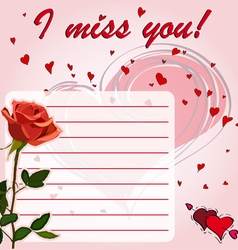 Greeting card i miss you with flower red rose vector