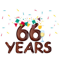 66 years anniversary celebration greeting card vector image vector image