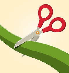 Red scissors cutting green ribbon vector