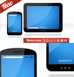 Mobile app tablet and smartphone combo vector