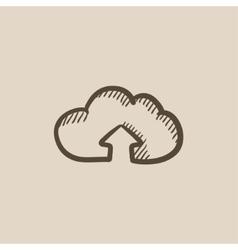 Cloud with arrow up sketch icon vector