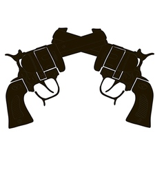 Black and white crossed gun vector