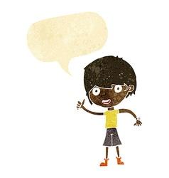 Cartoon boy with positive attitude with speech vector