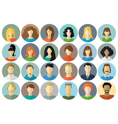 Circle icons set of men and women vector