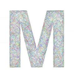 Colorful sketch font design - letter M vector image