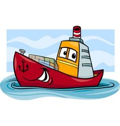 Container ship cartoon vector