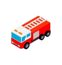Fire truck isometric 3d icon vector image
