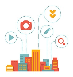 Flat style modern city with icons of daily activit vector