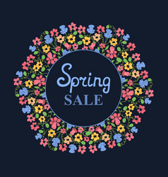 Flower wreath spring sale womens day march 8 vector