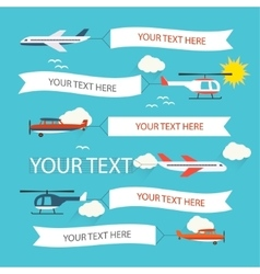 Flying planes and helicopters set vector image