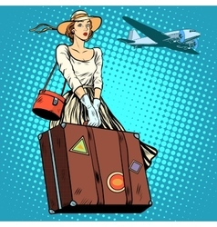 Girl travel suitcase airport vector