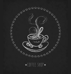 hand drawn cup of hot coffee on board vector image vector image