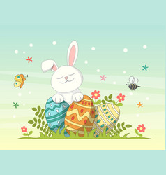 happy easter greeting card background with rabbit vector image vector image