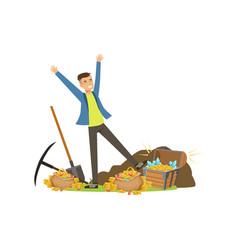 Happy man near pile of treasures vector