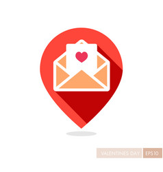Happy valentine day card in envelope pin map icon vector