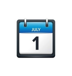 July 1 calendar icon flat vector