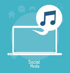 Laptop social media bubble music note vector