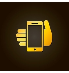 Mobile phone in hand - gold icon or logo vector image vector image