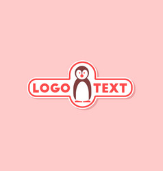 Paper sticker on stylish background penguin logo vector