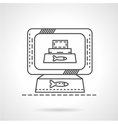 Pets food flat line icon vector