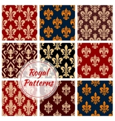 Royal seamless patterns set vector