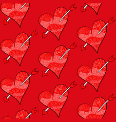 seamless valentines pattern of red hearts vector image