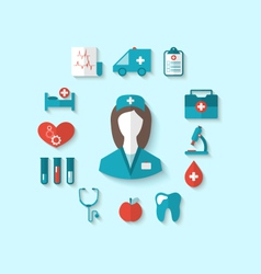Set modern flat icons of nurse and medical objects vector