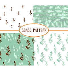 Set of four seamless patterns with spring plants vector