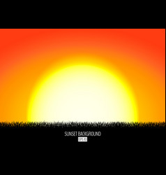 sunset or sunrise background with black grass vector image vector image