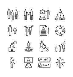 team work line icons and management linear vector image vector image