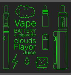 vape shop set neon vector image