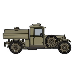 Vintage military tank truck vector