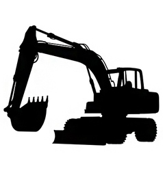 wheeled excavator silhouette vector image vector image