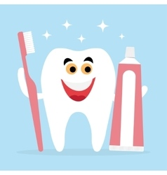 Tooth and friends toothbrush toothpaste vector