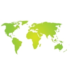 Green silhouette of world map vector