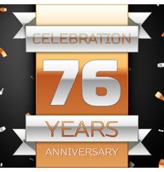 Seventy six years anniversary celebration golden vector