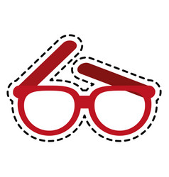 red frame glasses icon image vector image
