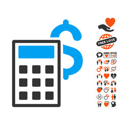 business calculator icon with love bonus vector image