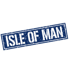 Isle of man blue square stamp vector