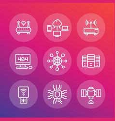 network internet data technology line icons set vector image