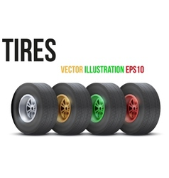 Set of sports car colorful wheels vector