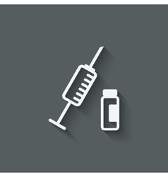 Syringe and vial medical symbol vector