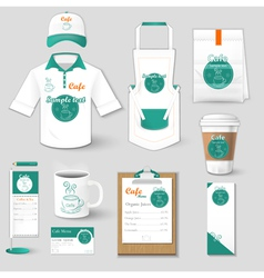 Set of restaurant corporate identity shirt cup vector
