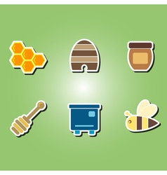Color icons with the theme of beekeeping vector